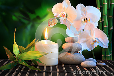 Spa composition: white orchid, candle