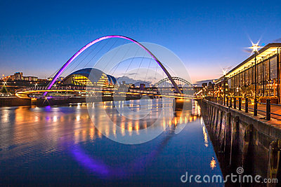 Gateshead Millennium Bridge and Newcastle Quayside