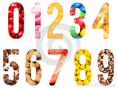 Food Alphabet Numbers Isolated