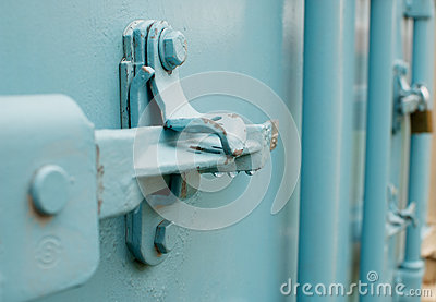 A blue container lock