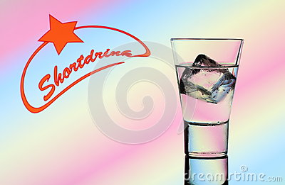 Short drink glass with clear liquid and text
