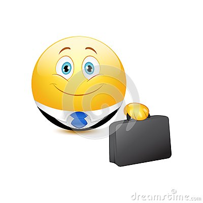 Business emoticon holding on a white background
