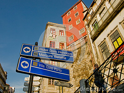 Oporto tipic houses view with hotel signs