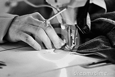 Tailor working at a factory