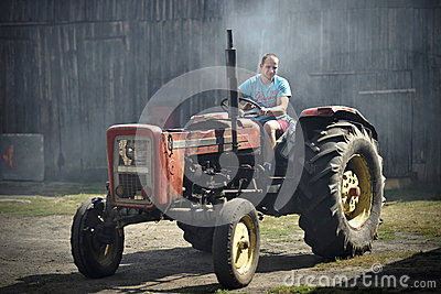 Man in tractor