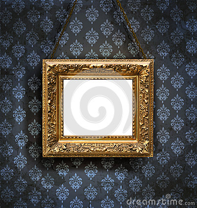 Aged, gold plated empty picture frame