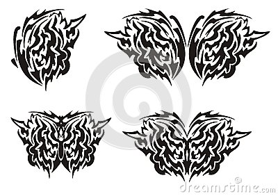 Tribal butterfly wings tattoo. Black on the white