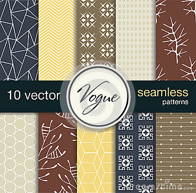 10 fashionable seamless vector patterns. Blanks for postcards, prints fabric, background for web. Subject fashion.