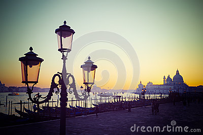 Vintage lamppost in San Marco square at sunset