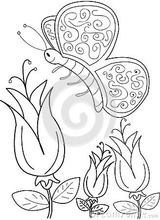 Hand drawn coloring page of a beautiful butterfly