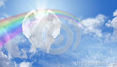 Angel Wings and Rainbow on Blue Sky
