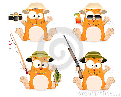 stock image of set cats and their hobbies