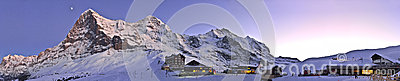 Panoramic sunset at Kleine Scheidegg. Switzerland Alps