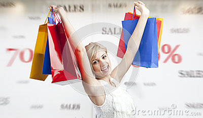 Woman shopping during sales season