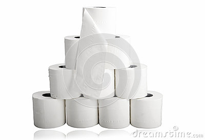 Toilet paper in pyramid shape