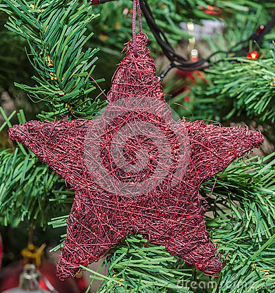 Red star Christmas ornament tree, detail, close up