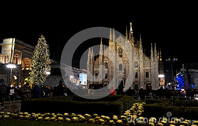 Duomo square of Milan during New Year 2014 concert at midnight.