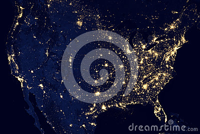 USA city lights visible geography