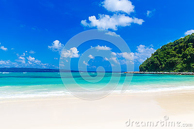 Dream scene. Beautiful white sand beach, the tropical sea . Summ