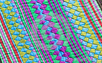 Colorful Thailand style rug surface close up vintage fabric is made of hand-woven cotton fabric More of this motif