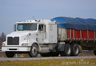 Tractor Trailer with Tarp