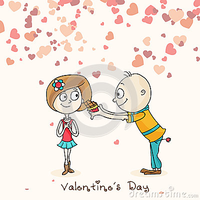 Cute Cartoon Couple For Happy Valentines Day Celebration