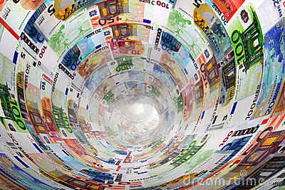 Tunnel of Euro banknotes towards light. Money.