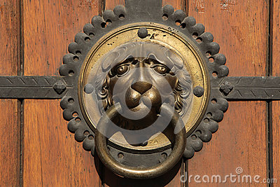 Knocker at a door of St Thomas Church (Thomaskirche) in Leipzig,