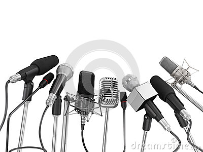 Various microphones aligned at press conference