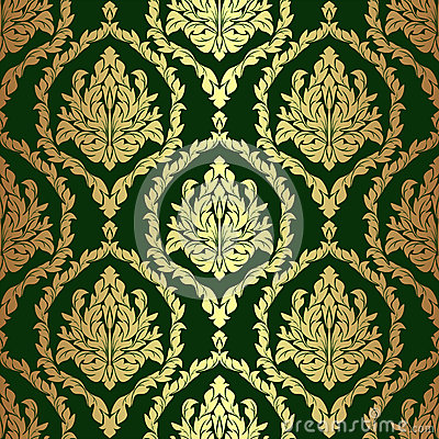 Golden Rich Floral Damask Wallpaper On Green