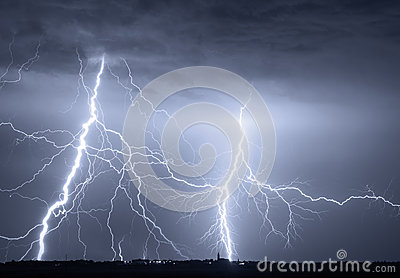 Heavy clouds bringing thunder lightnings and storm