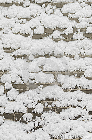 Snow on a brick wall