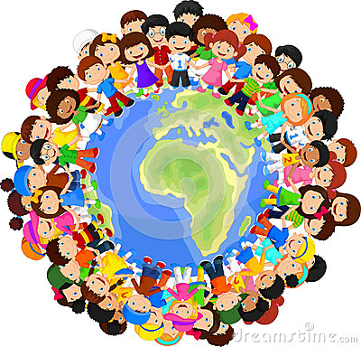 Illustration of Multicultural children cartoon on planet earth: www.stockphotos.ro/multicultural-children-cartoon-planet-earth...