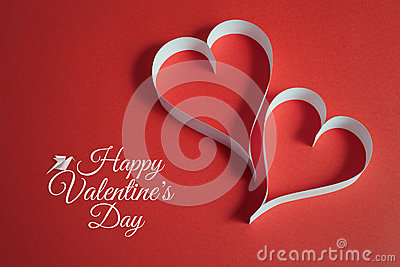 Valentines day background with origami dove and papercraft heart