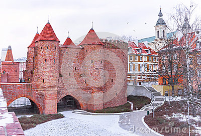 Warsaw Barbican fortress in winter. The capital city of Poland.