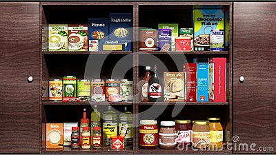 Wooden kitchen cabinet full of food