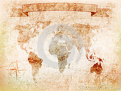 Background world map on old wall with crack, windrose, banner. illustration