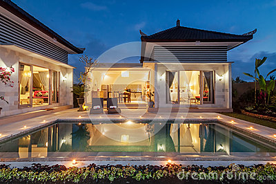 Night shoot Luxury and Private villa with pool outdoor