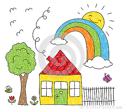 kids drawing of a house rainbow and tree - Kid Drawing Picture