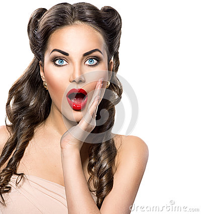 Surprised retro woman