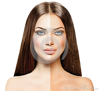 Woman with tanned skin before and after tan