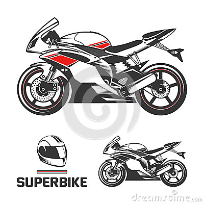 Sport Motorcycle with Helmet.