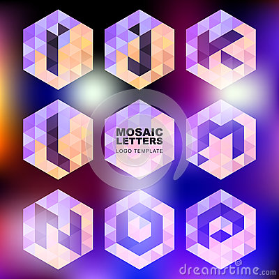 Set of mosaic letter icons. Geometric logo design template. Corp