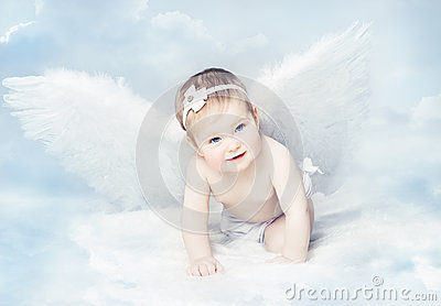Baby Angel with Wings, Newborn Kid at Blue Sky Cloud