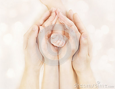 Family Hands and Baby New Born Arm, Mother Father Children Body, Newborn Kid Hand