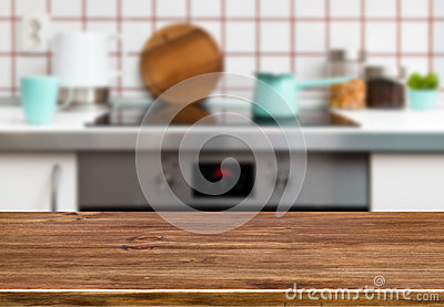 Wood texture table on kitchen stove bench background