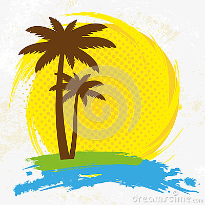 Grunge background with palm trees,