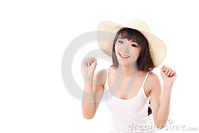 Exited, happy, smiling woman looking at camera
