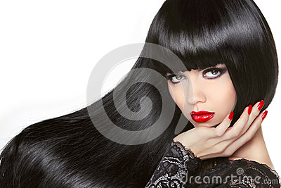 Long Hair. Beautiful Brunette Girl. Healthy Black Hairstyle. Red