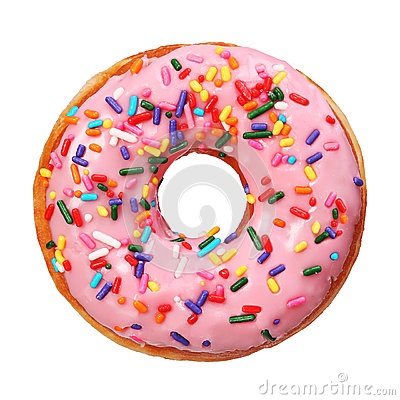 Donut with sprinkles isolated
